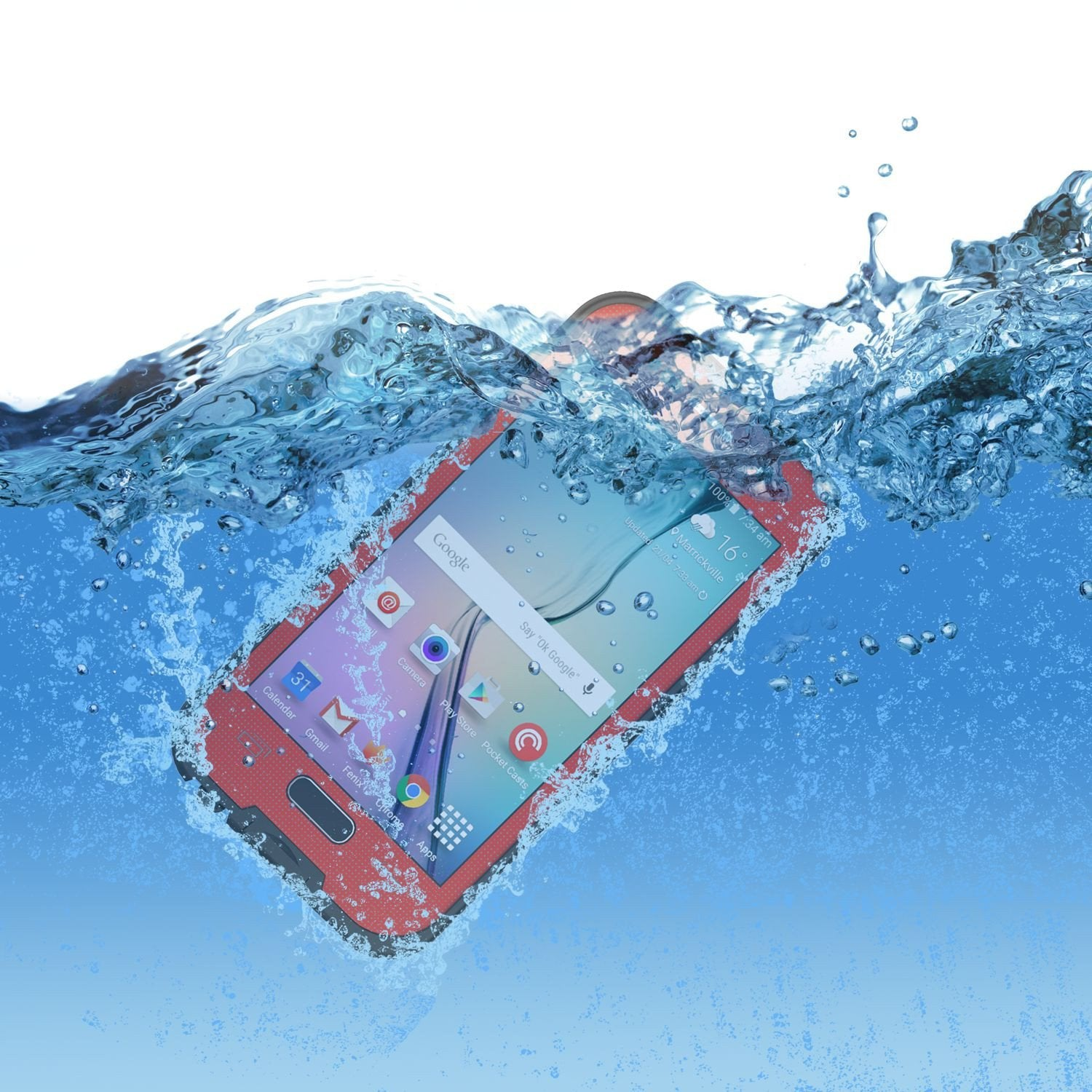 Galaxy S6 Waterproof Case, Punkcase SpikeStar Red Water/Shock/Dirt/Snow Proof | Lifetime Warranty