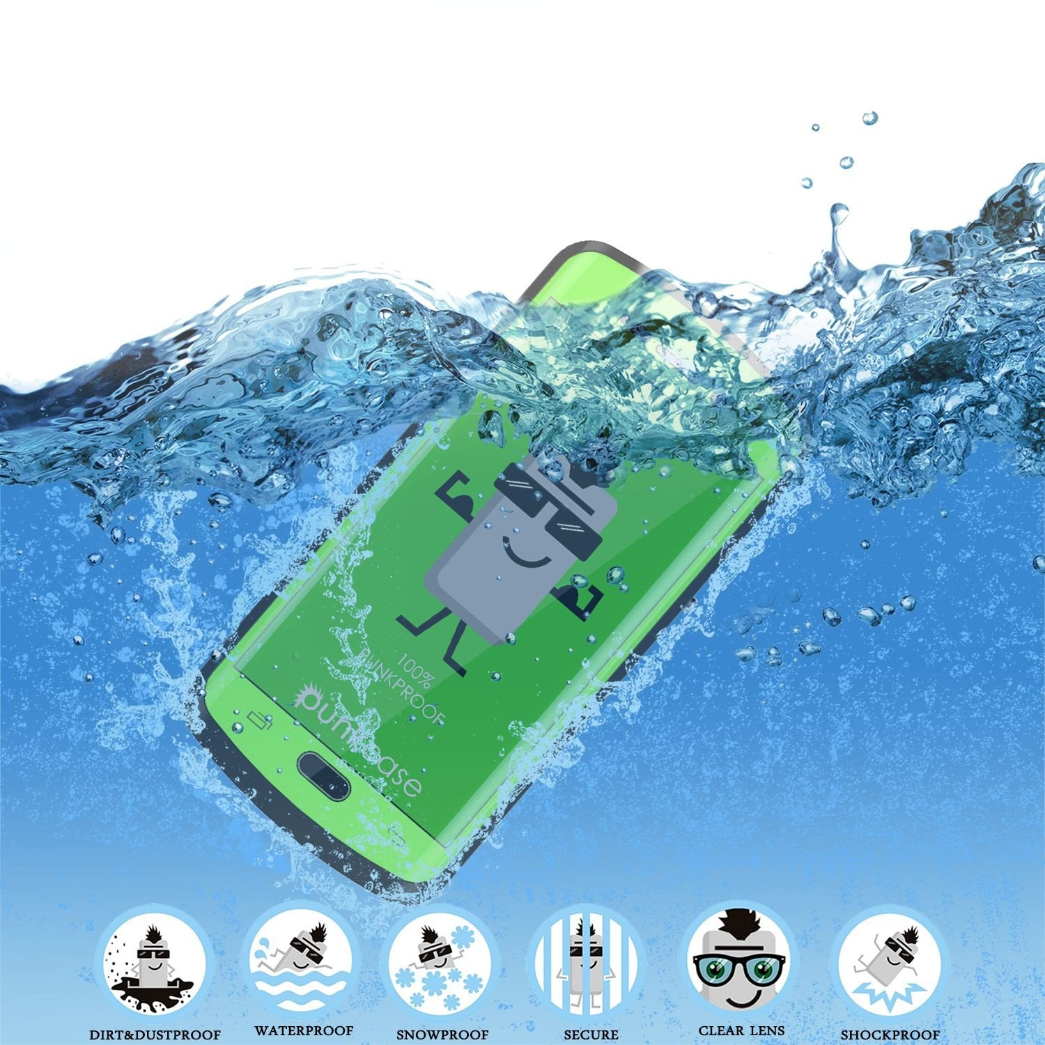 Galaxy s6 EDGE Plus Waterproof Case, Punkcase StudStar Light Green Series | Lifetime Warranty