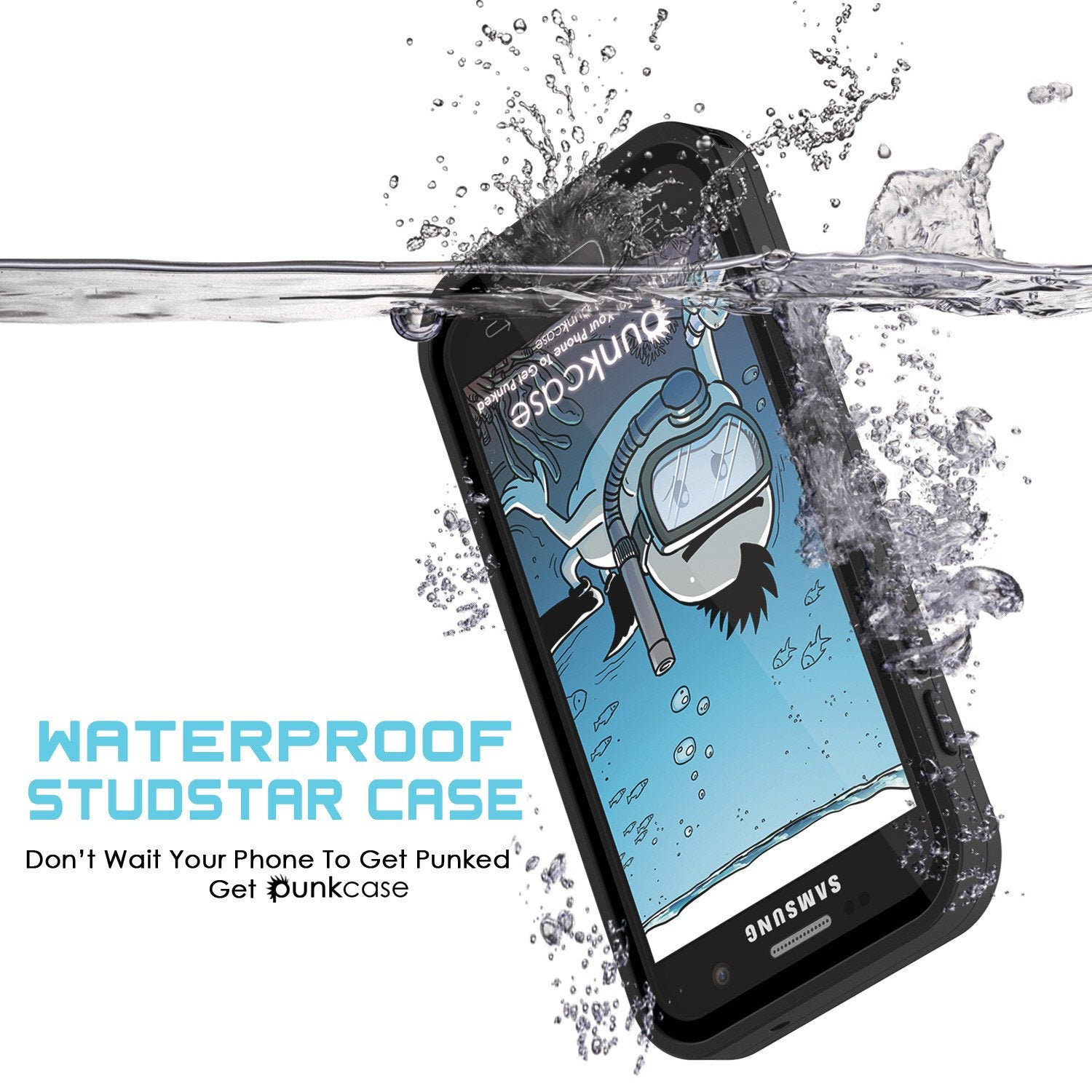 Galaxy S7 Waterproof Case PunkCase StudStar Black Thin 6.6ft Underwater IP68 Shock/Dirt/Snow Proof