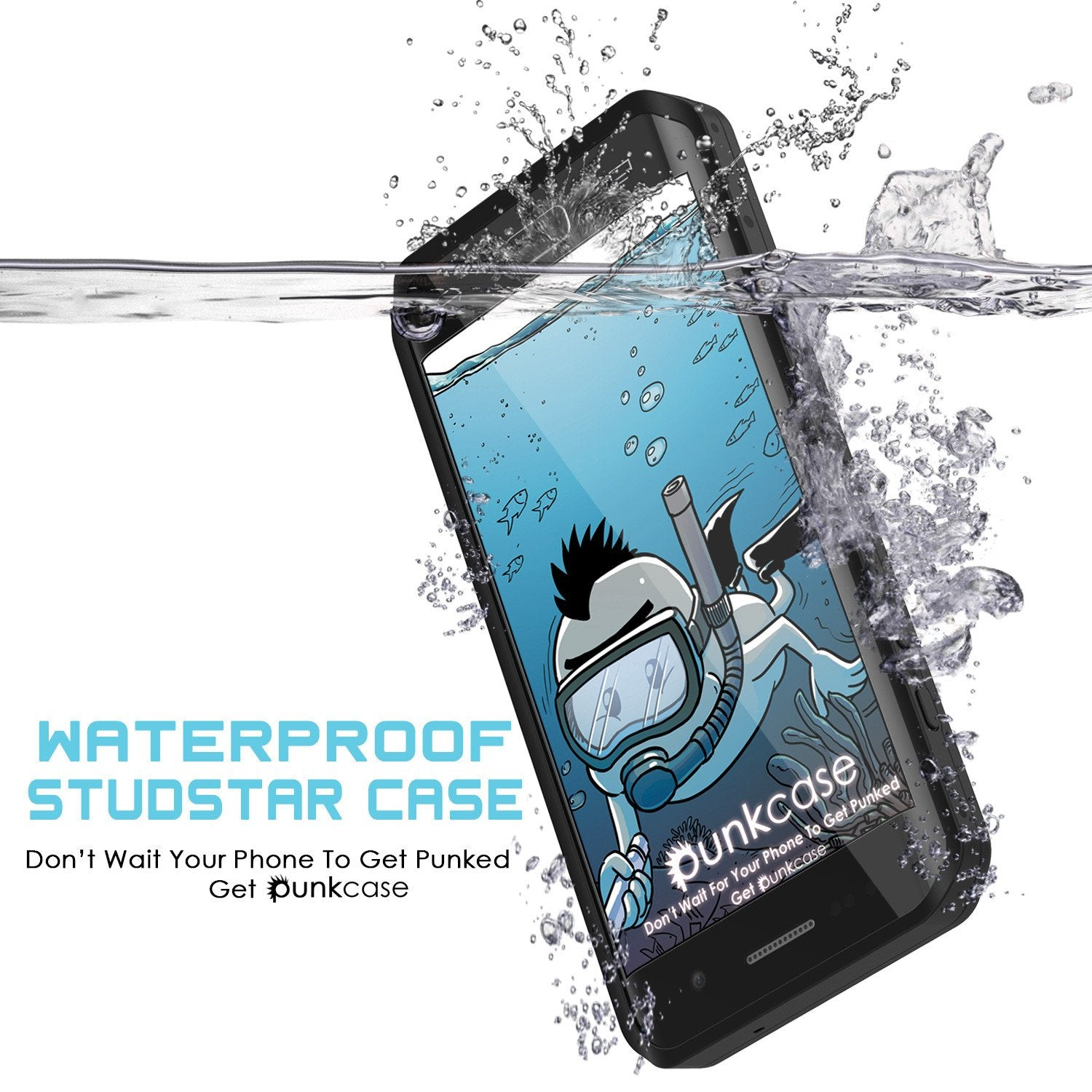 Galaxy S7 EDGE Waterproof Case PunkCase StudStar Black Thin 6.6ft Underwater IP68 Shock/Snow Proof