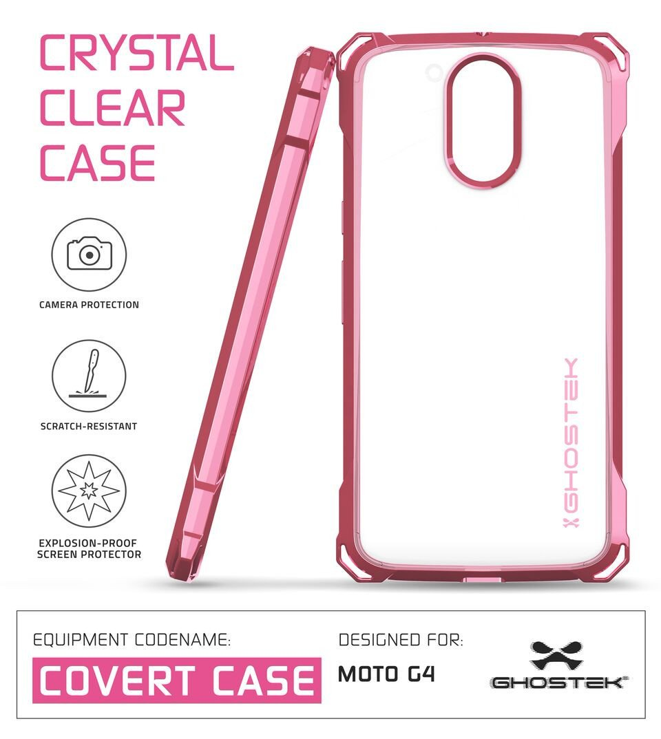 Moto G4 Case, Ghostek Covert Peach Series | Clear TPU | Explosion-Proof Screen Protector |Ultra Fit