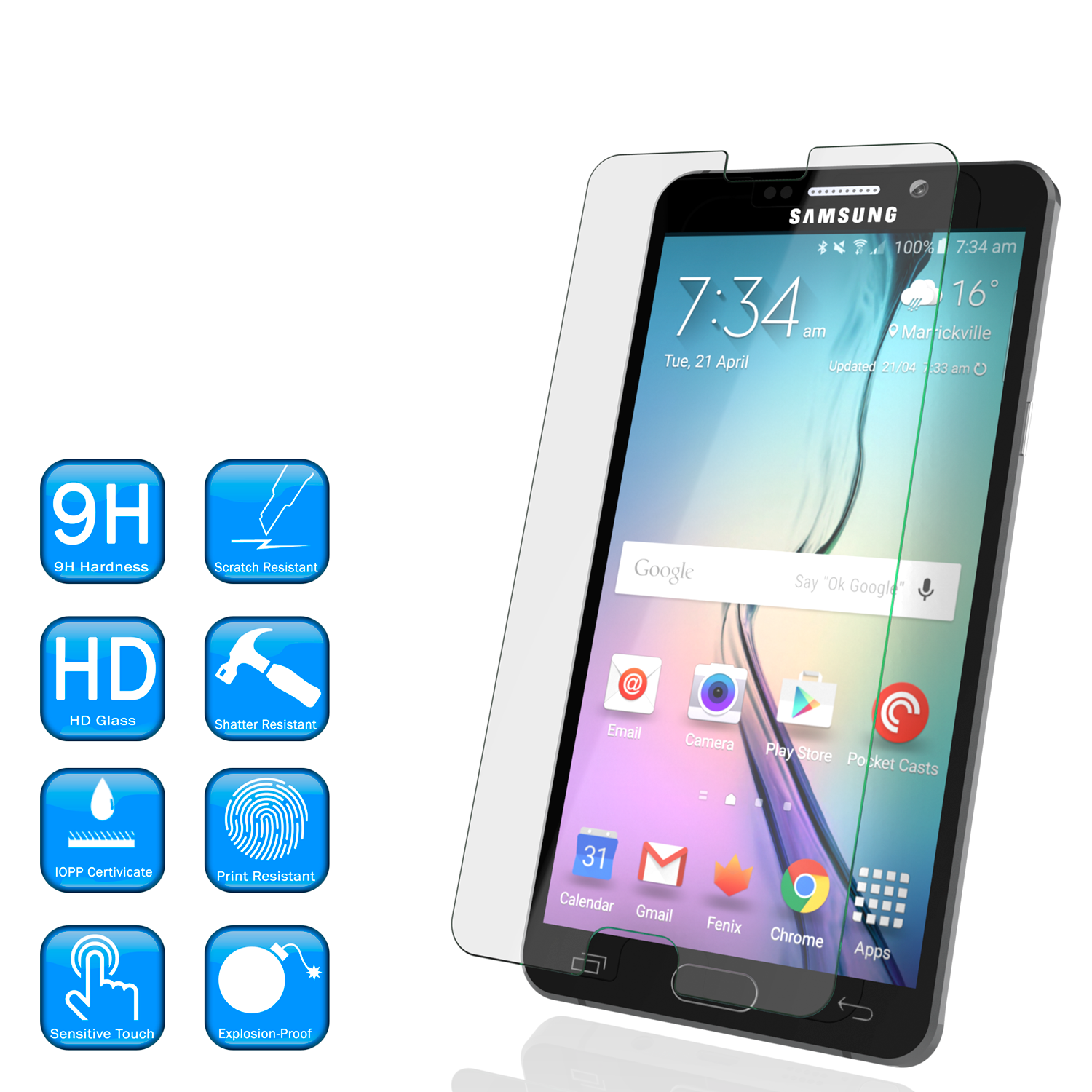 Galaxy Note 5 Punkcase Glass SHIELD Tempered Glass Screen Protector 0.33mm Thick 9H Glass Screen