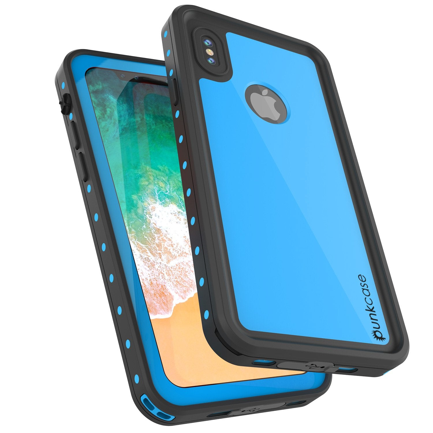 iPhone X Waterproof IP68 Case, Punkcase [Light blue] [StudStar Series] [Slim Fit] [Dirtproof]