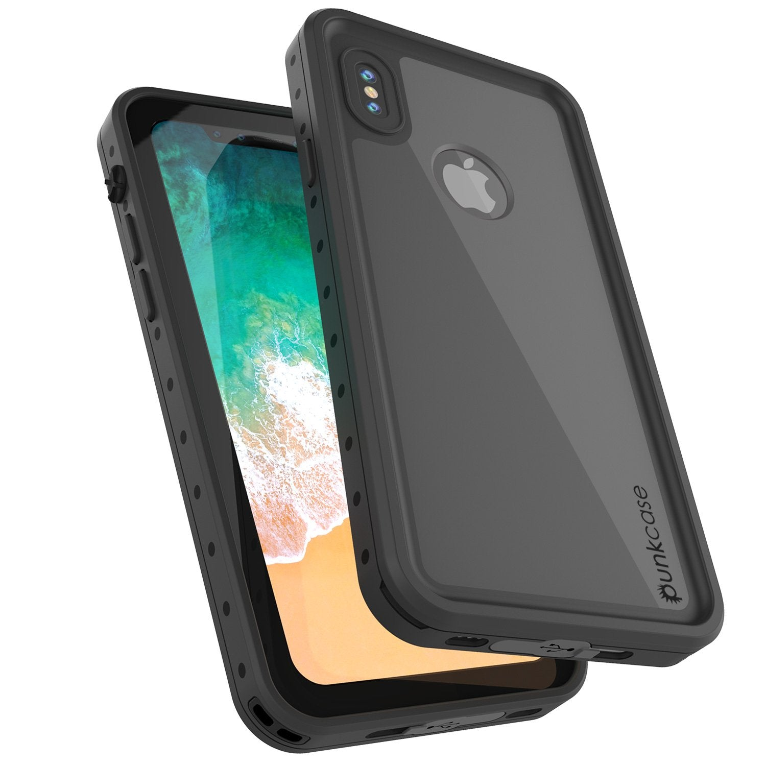 iPhone X Waterproof IP68 Case, Punkcase [Black] [StudStar Series] [Slim Fit] [Dirtproof]