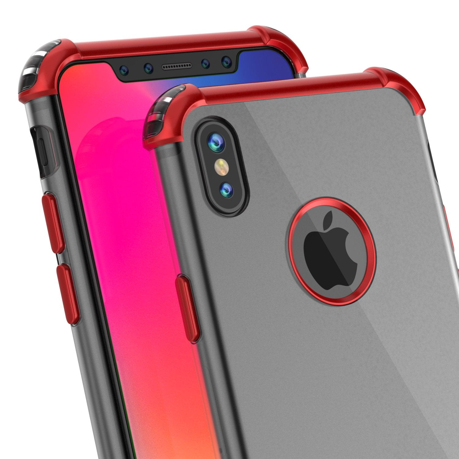 iPhone X Case, Punkcase [BLAZE SERIES] Protective Cover W/ PunkShield Screen Protector [Shockproof] [Slim Fit] for Apple iPhone 10 [Red]