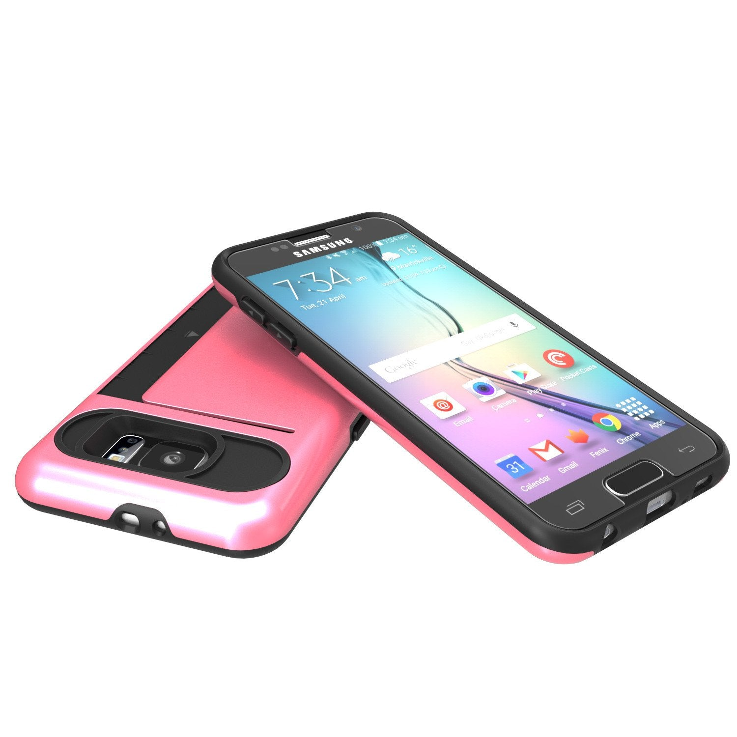 Galaxy s6 Case PunkCase CLUTCH Pink Series Slim Armor Soft Cover Case w/ Tempered Glass