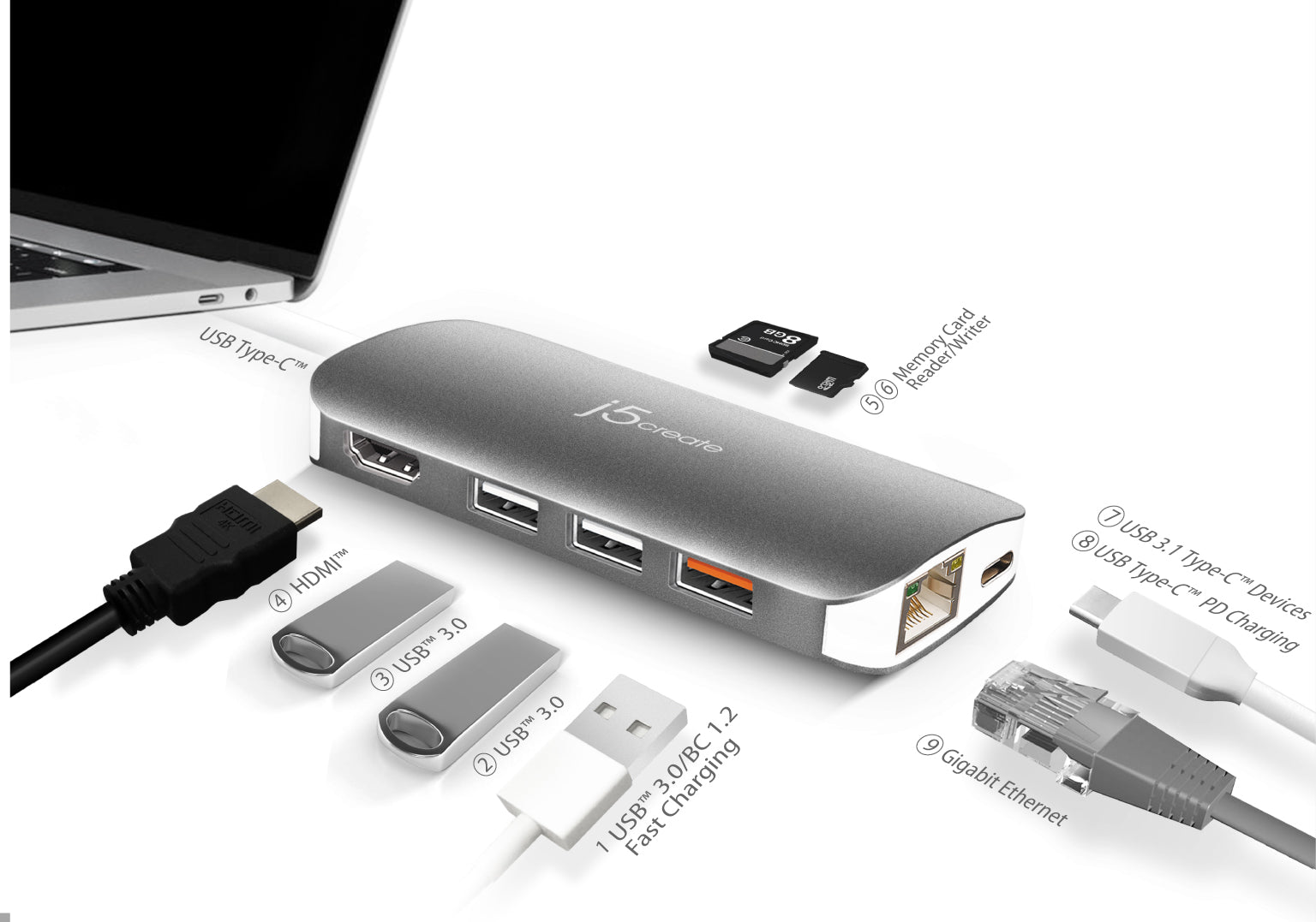 Computer /& Networking 3 in 1 Type-C to Type-C Support PD Fast Charging 2 x USB Interfaces Charging HUB Card Reader Black