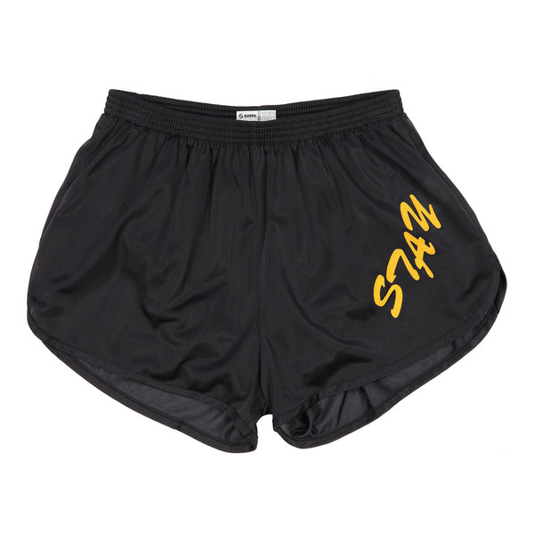 Lessons: Stay Pumped Quad Shorts (Black/Gold)