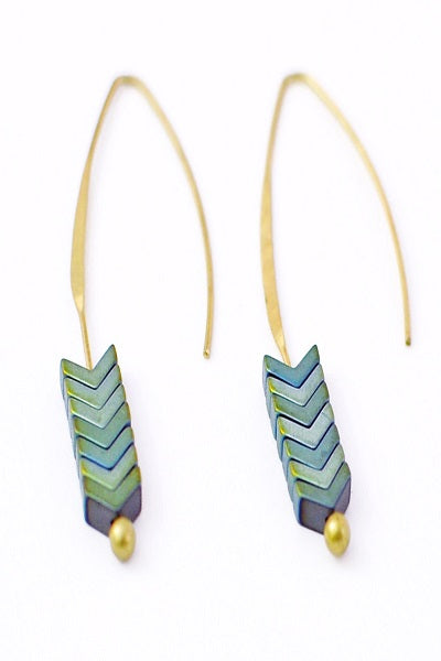 Green Slip Through Earrings