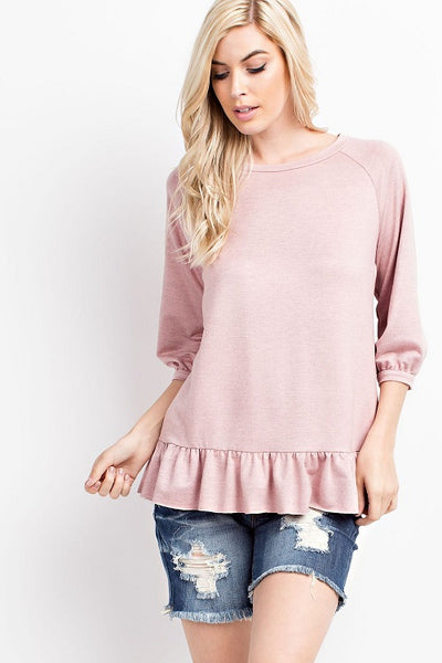 Dusty Rose Raglan Ruffle Top