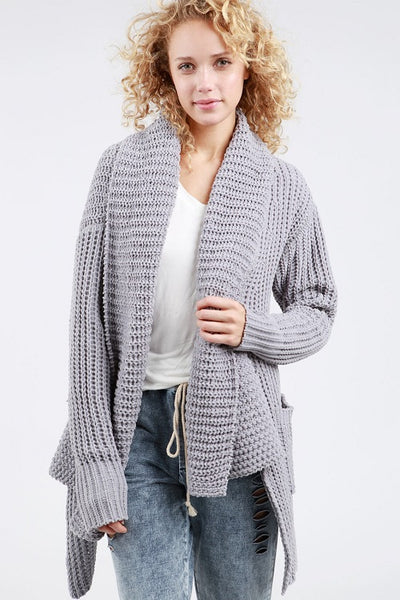 Gray Waterfall Pocket Cardigan