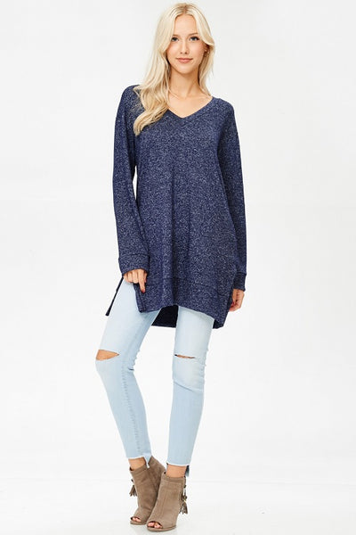 Denim Blue Wash Long Tunic with Pockets