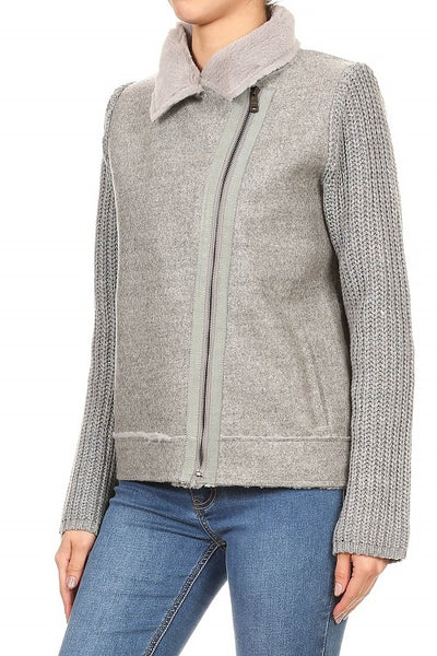 Soft Gray Sweater Jacket