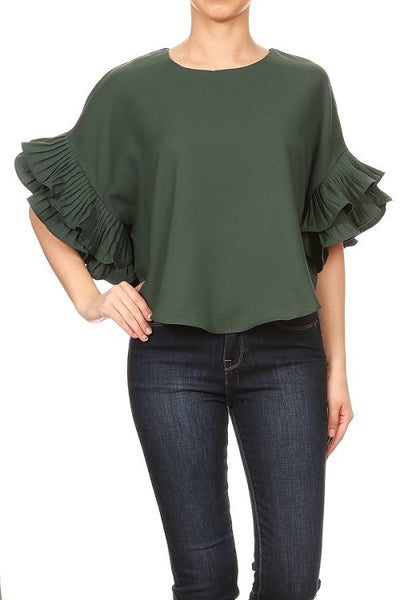 Emerald Green Ruffle Sleeve Top