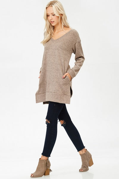 Taupe Long Tunic with Pockets