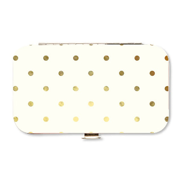 White and Gold Polka Dot Manicure Set