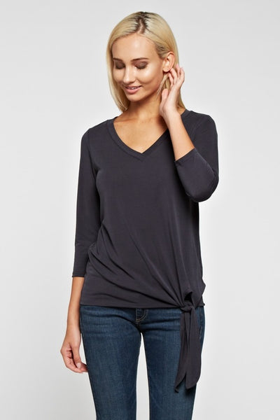 Charcoal 3/4 Sleeve Tie Detail Top
