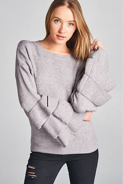 Luxe Gray Tiered Sleeve Sweater