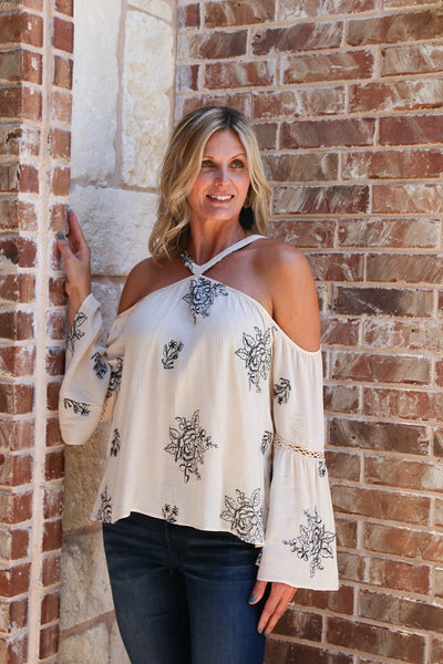 Ebony and Ivory Cold Shoulder Top