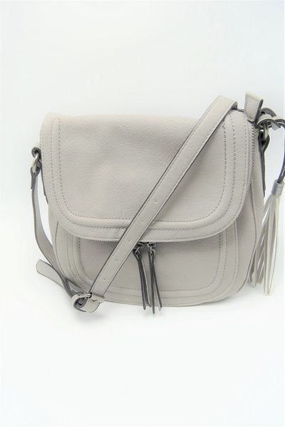 Fog Grey Zip Flap Crossbody Bag