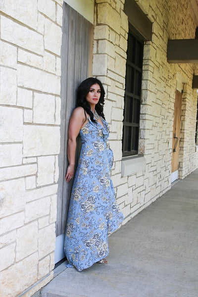 Baby Blue Floral Print Wrap Maxi Dress