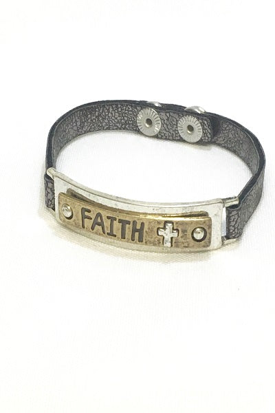 Grey Metallic Leather Faith Bracelet