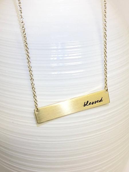 Gold Blessed Bar Necklace