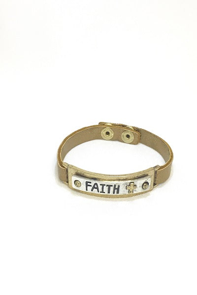 Bronze Metallic Leather Faith Bracelet