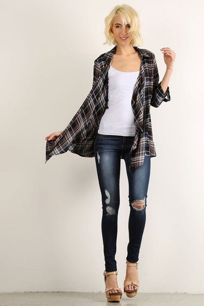 Navy  Plaid Cardigan with Back Lace Detail