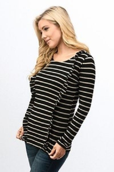 Black and White Striped Ruffle Long Sleeve Top
