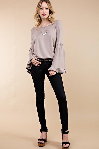 Mocha Angelica Bell Sleeve Top
