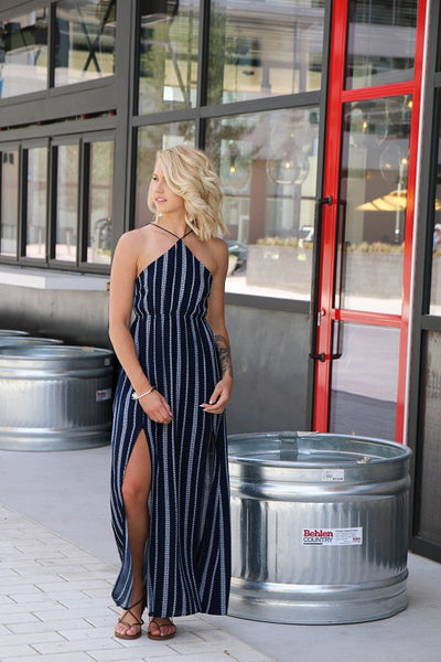 Navy Halter Maxi Dress