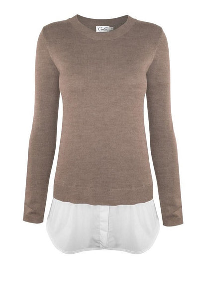 Camel Layered Shirttail Sweater