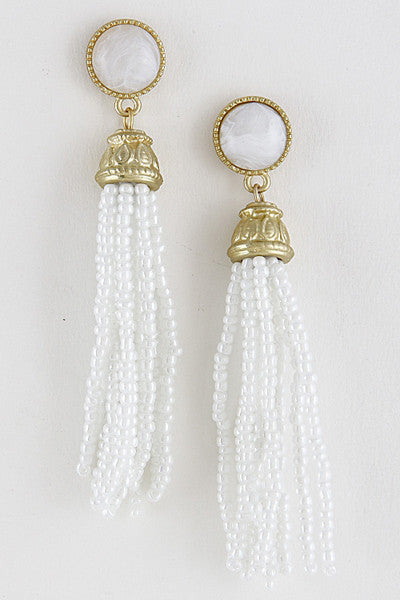 Antique Gold and White Beaded Tassel Earrings