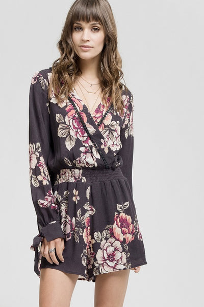 Black Floral Long Sleeve Romper