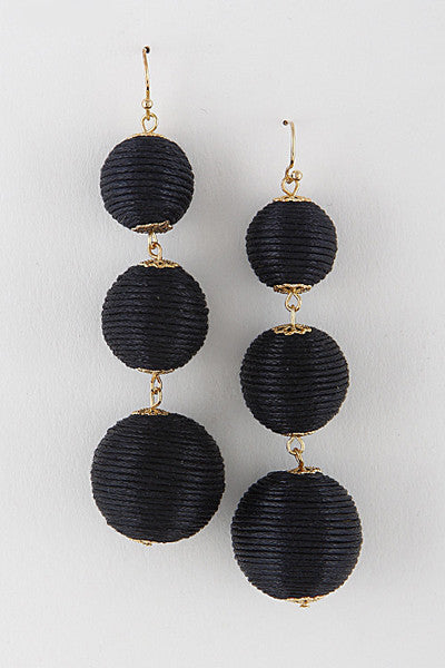 Black and Gold Chinese Lamp Earrings