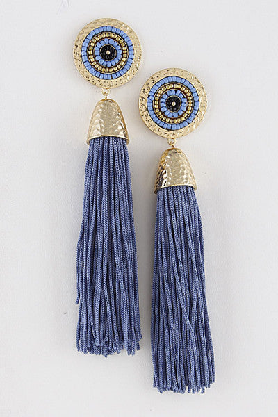 Blue Beaded Stud Tassel Earrings