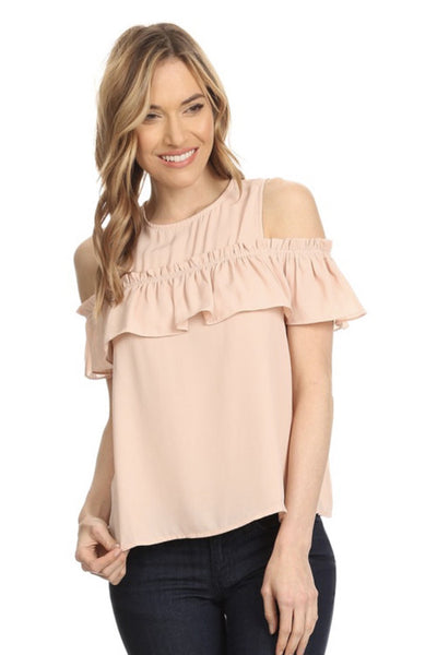 Blush Cold Shoulder Ruffle Top