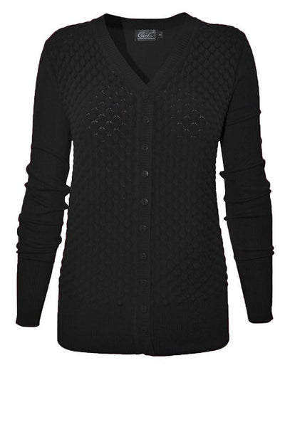 Black Scallop Print Silk Blend Button Up Sweater