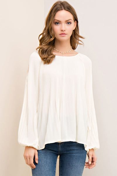 Cream Pleated Top