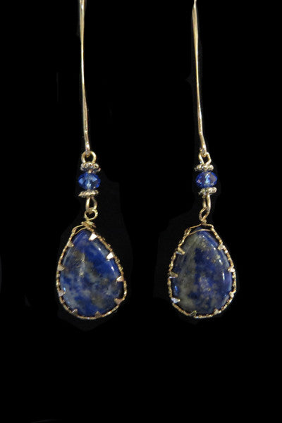 Delicate Blue Stone Drop Earrings