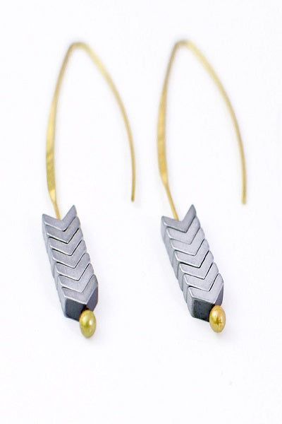 Gray Slip Through Earrings