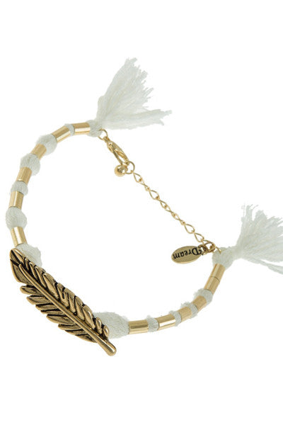 White Gold Leaf Bracelet