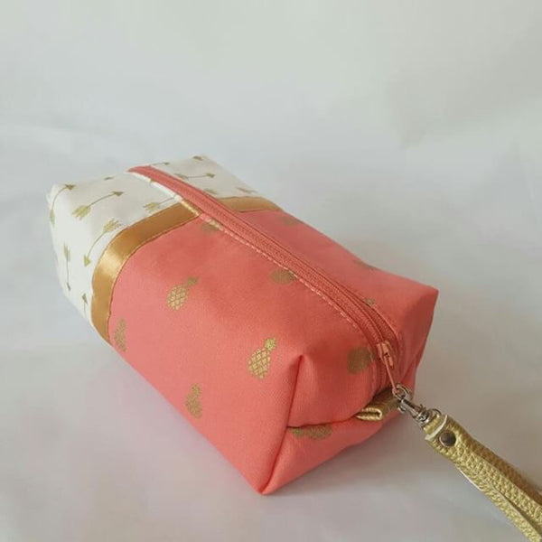 Golden Arrow and Pineapple Coral Cosmetic Bag