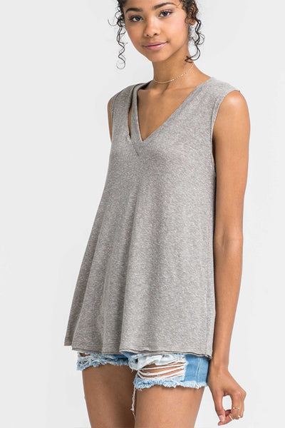 Olive Distressed Collar Tank Top