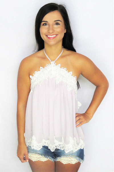 Icy Lilac Halter Top with Scallop Lace