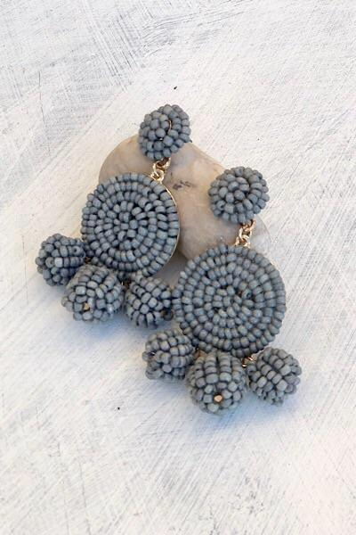 Grey Pom Earrings