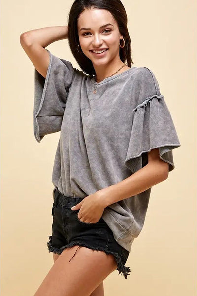 Mineral Wash Ruffle Sleeve Top