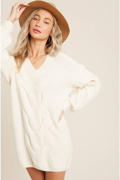 Ivory Cable Tunic Sweater