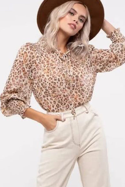 Shimmering Sheer Leopard Top